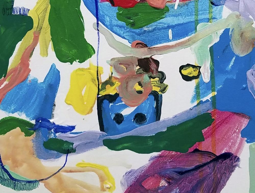 "Popcorn Man (detail), 24"" x 12"", Mixed Media On Canvas"