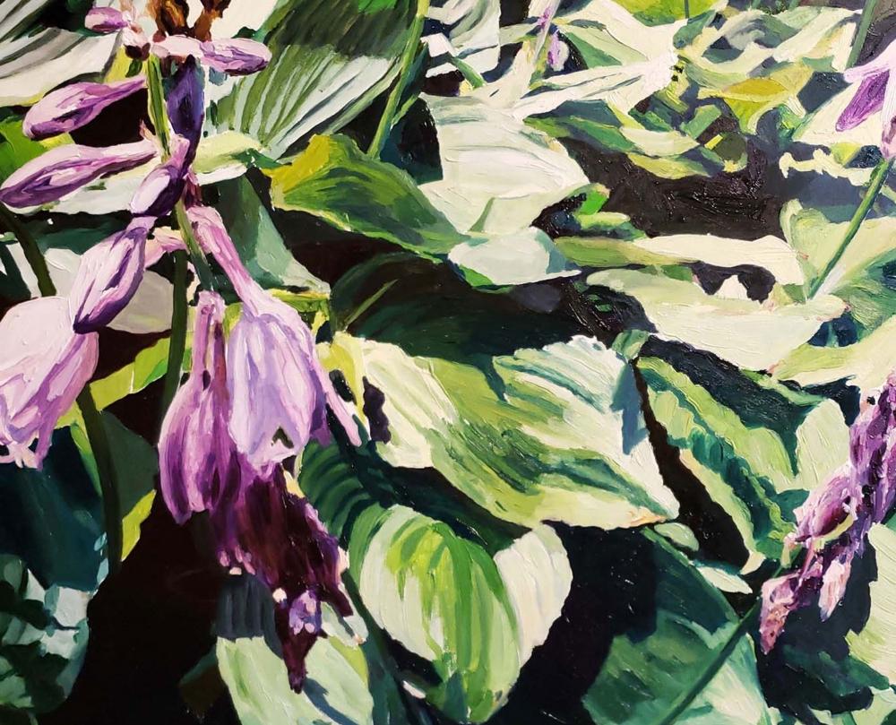 Hostas, 10 x 10,  Oil On Canvas