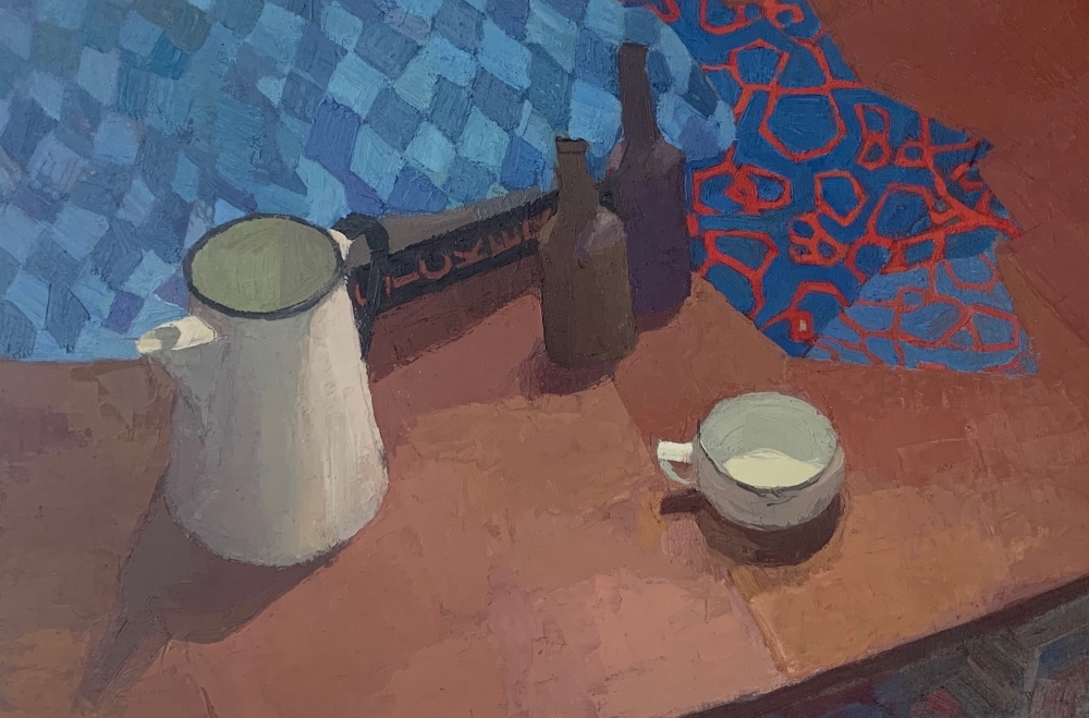 """Dining Room Table, 20"""" x 25"""", Oil On Canvas Mounted On Board"""