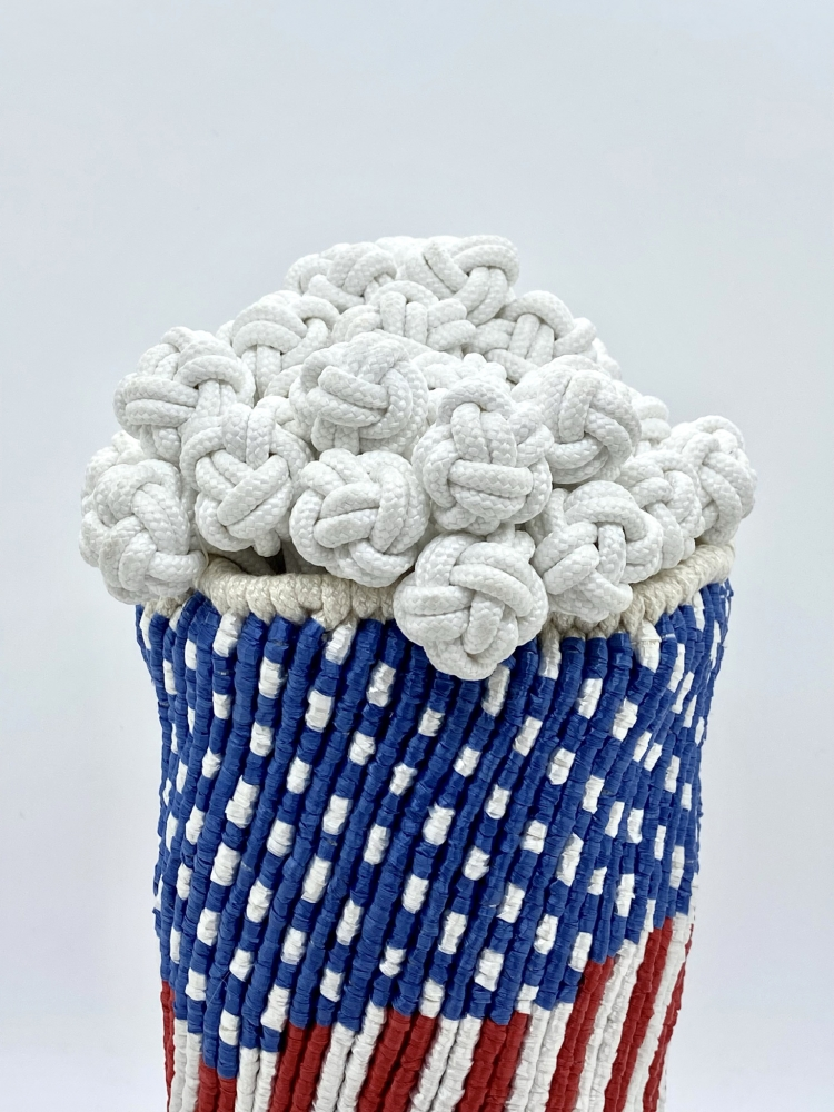 """Popcorn I (Detail)  10"""" x 8"""" x 8""""  Synthetic Raffia, Ribbons, And Polyester Shoe Lacing"""