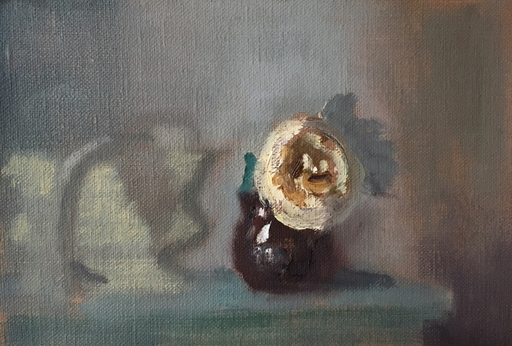 "English Rose On Panel, 6"" x 9"", Oil On Panel"
