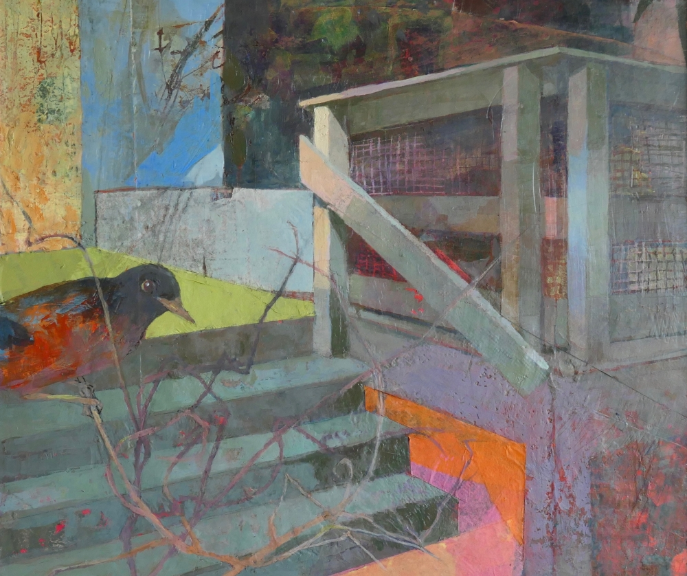 Perky Edgerton, Back Yard Porch #1, Oil On Canvas