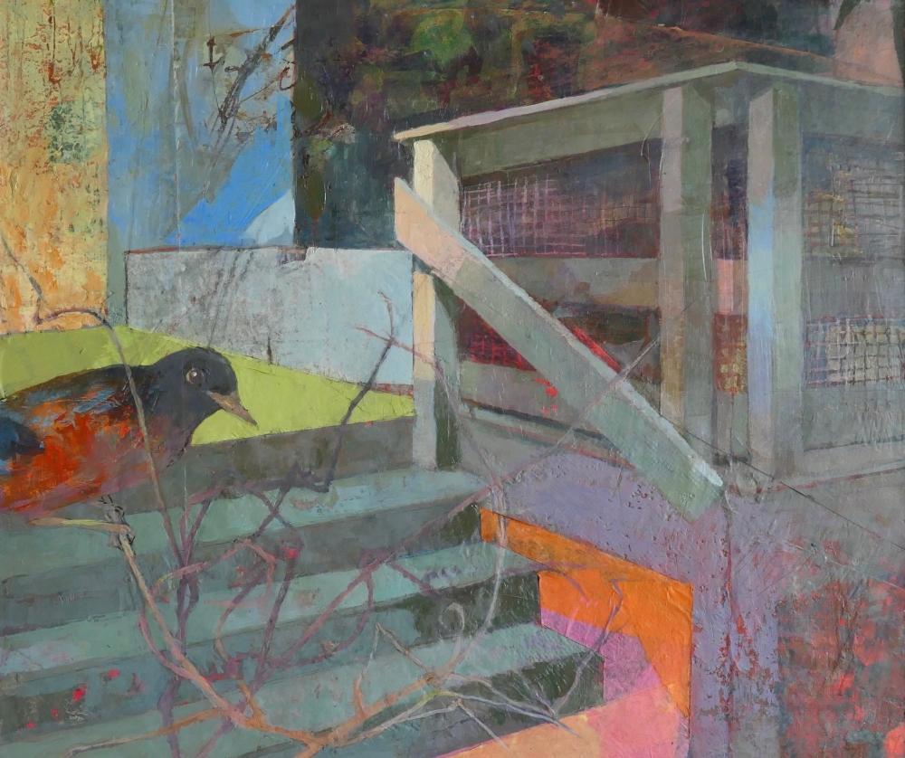 Perky Edgerton, Back Yard Porch #1, Oil On Canvas