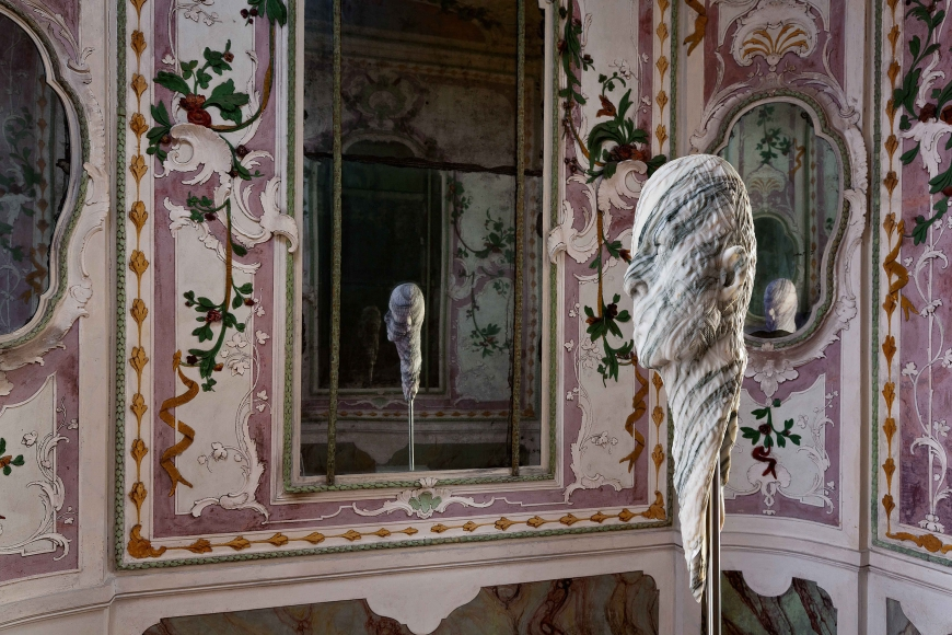 "BARRY X BALL_Stretched Portrait of Jon Kessler with ""Baroque"" Relief in Italian Fantastico Marble_The Stucco Room — Ca' Rezzonico, Venice"