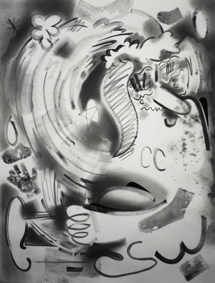 Brian Scott Campbell, The Meaning of Life 2015, Graphite wash, pencil, and gouache on paper, 50 x 38""