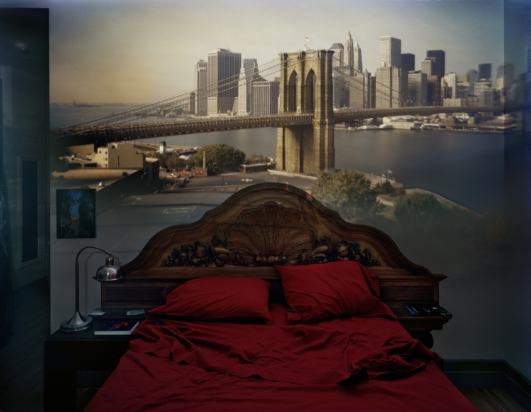 Abelardo Morell, Camera Obscura: View of the Brooklyn Bridge in Bedroom, 2009