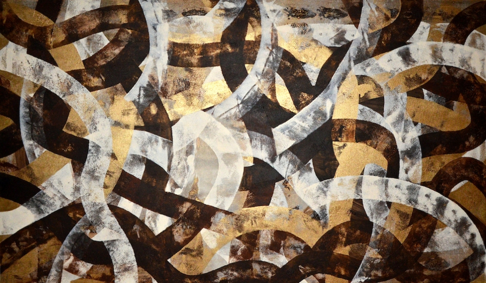 Azadeh Ghotbi, Crossroads # 14, acrylic on canvas, 36 x 60 ""