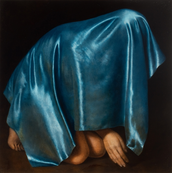 Untitled (blue satin, crouching figure with hand extended)