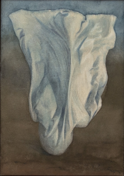 Untitled (billowing white drape, light brown background)