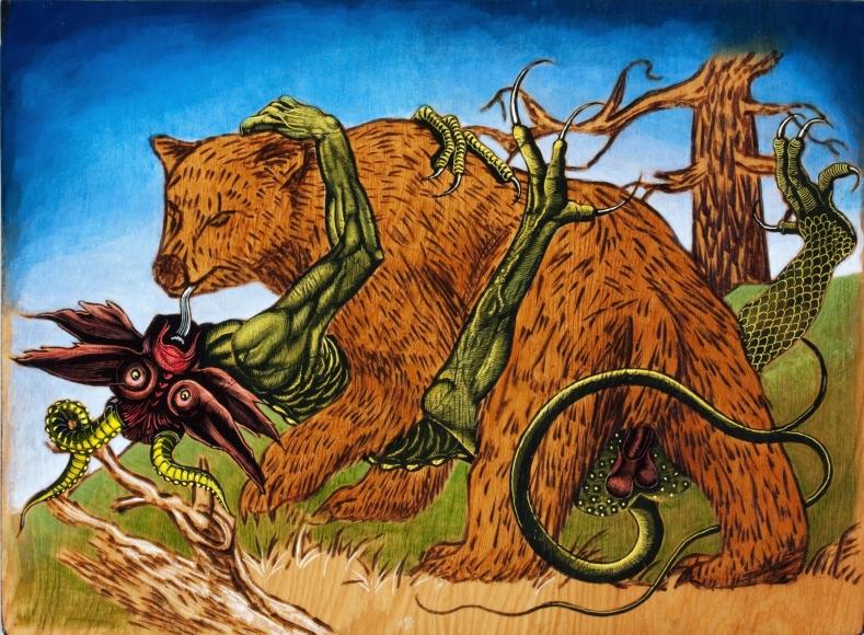 Untitled LR240 (bear, demon, tree)