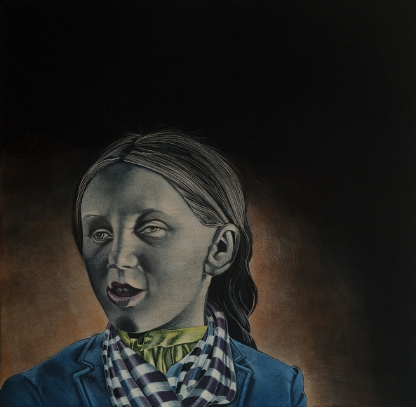Stotik - girl with striped scarf
