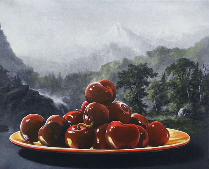 Wolf - Cherries / Mountain etching