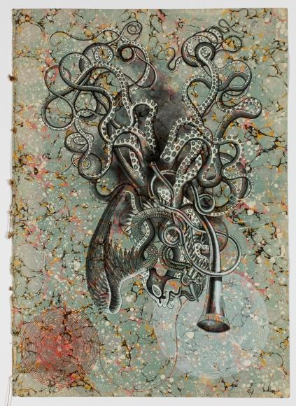 Untitled LR233 (bird, octopus, horn)