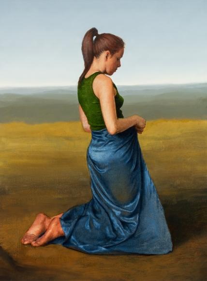 Untitled (kneeling woman, blue satin drape, landscape)