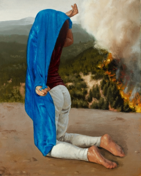 Untitled (blue satin, forest fire)