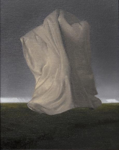 Untitled (vertical white drape, grey cloud, green landscape)