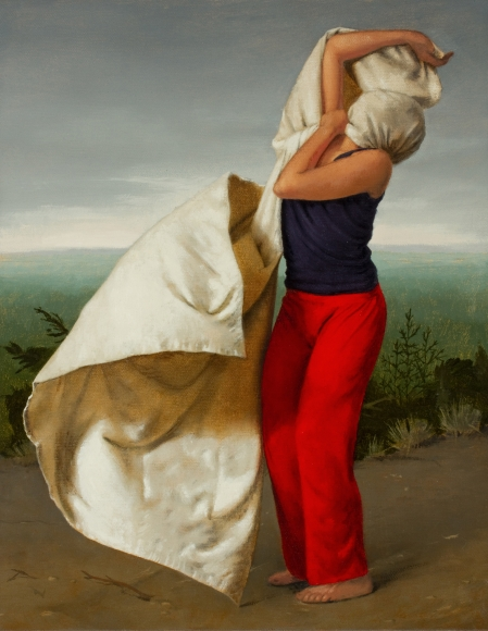 Untitled (red pants, whipping cloth)