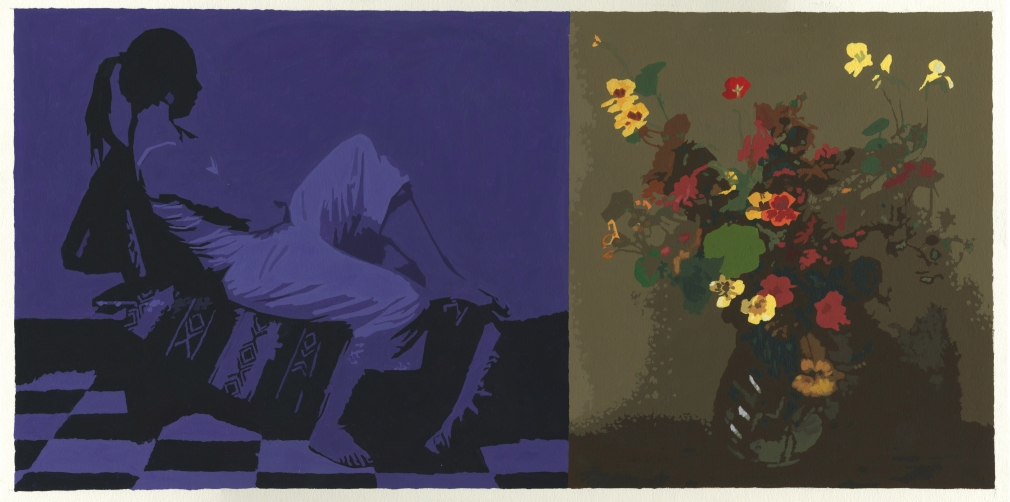 Cain - Diptych with violet seated figure