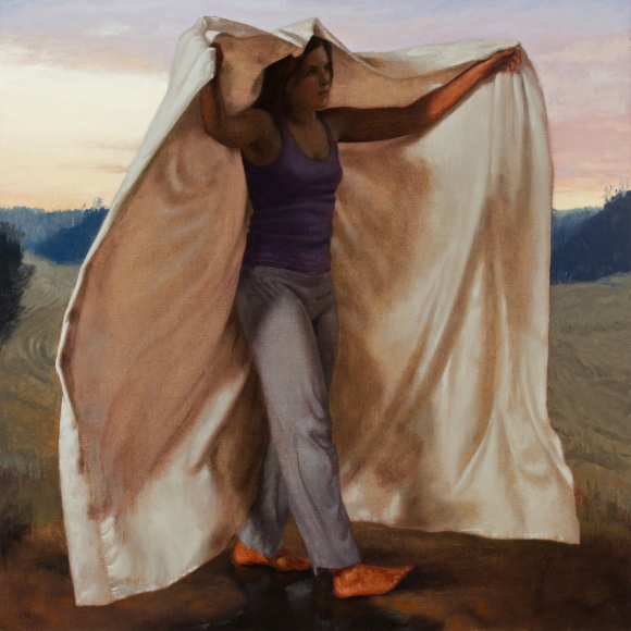 Untitled (yellow and lavender sky, partially draped woman walking)