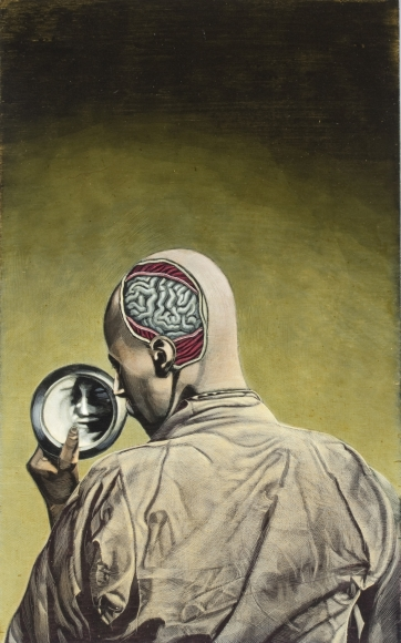 Untitled LR245 (man with exposed brain, mirror)
