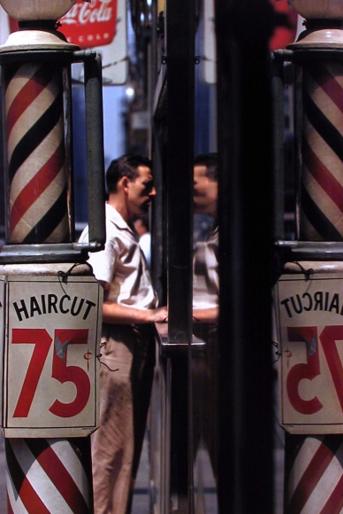 Saul Leiter, Haircut, 1956 Chromogenic print; printed later 14 x 11 inches