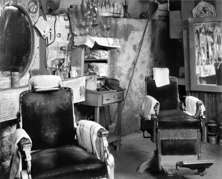 Peter Sekaer  Negro Barbershop Interior, Atlanta, 1936 Gelatin silver print; printed c.1936 7 1/2 x 9 1/2 inches, howard greenberg gallery, 2020