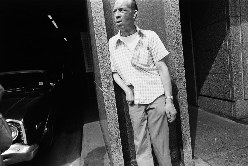 Tom Arndt - Leaning man, Minneapolis, MN, 1975   - Howard Greenberg Gallery