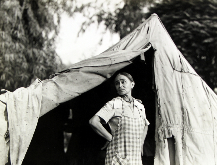 Dorothea Lange  Greek migratory woman living in a cotton camp near Exeter, California., c.1935 Gelatin silver print, printed c.1935 7 1/8 x 9 1/2 inches, Howard Greenberg Gallery, 2020