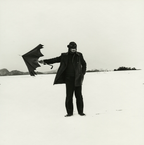 Shōji Ueda - Self Portrait with Gorilla Mask, 1975 - Howard Greenberg Gallery