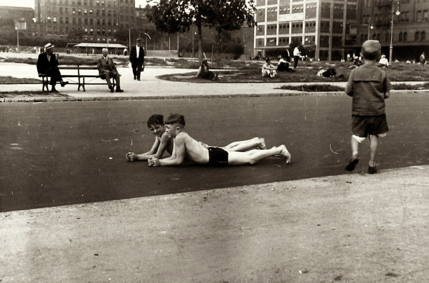 Ben Shahn - Boys Lying in Street, c.1932 - Howard Greenberg Gallery