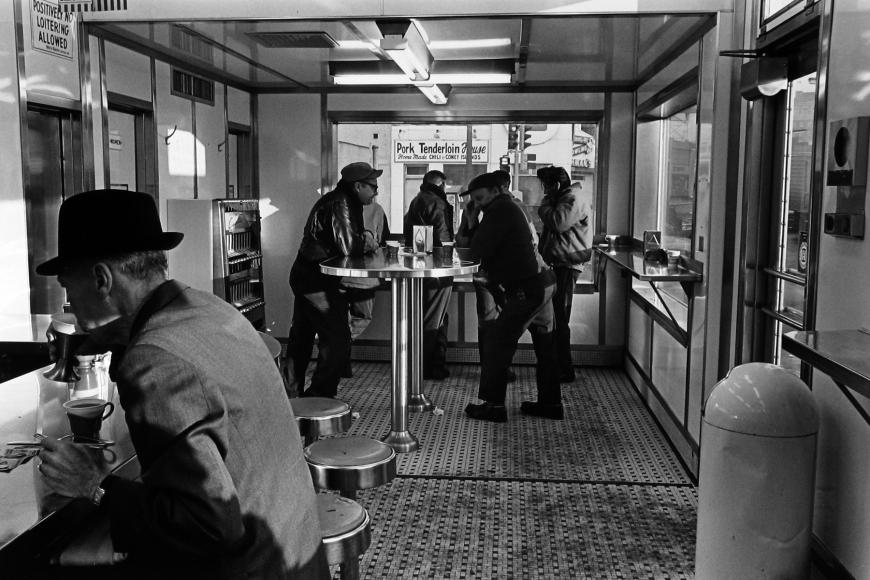 Tom Arndt - Men in a White Castle, Minneapolis, MN, 1970   - Howard Greenberg Gallery