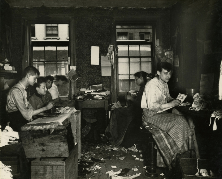 Jacob Riis - Necktie Workshop in a Division Street Tenement, c.1888 - Howard Greenberg Gallery