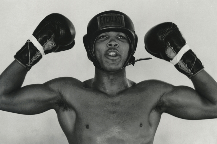 Cassius Clay (Muhammad Ali), 5th Street Gym, Miami 1/10, 1963 Archival pigment print; printed later, howard greenberg gallery, 2020