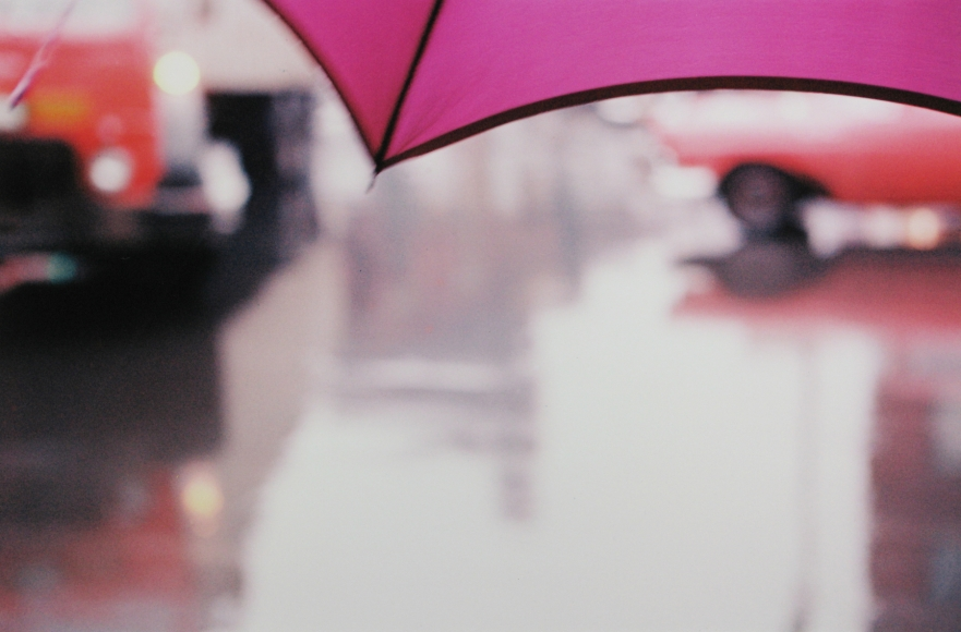 Saul Leiter,  Purple Umbrella, 1950s Chromogenic print; printed later 16 x 20 inches