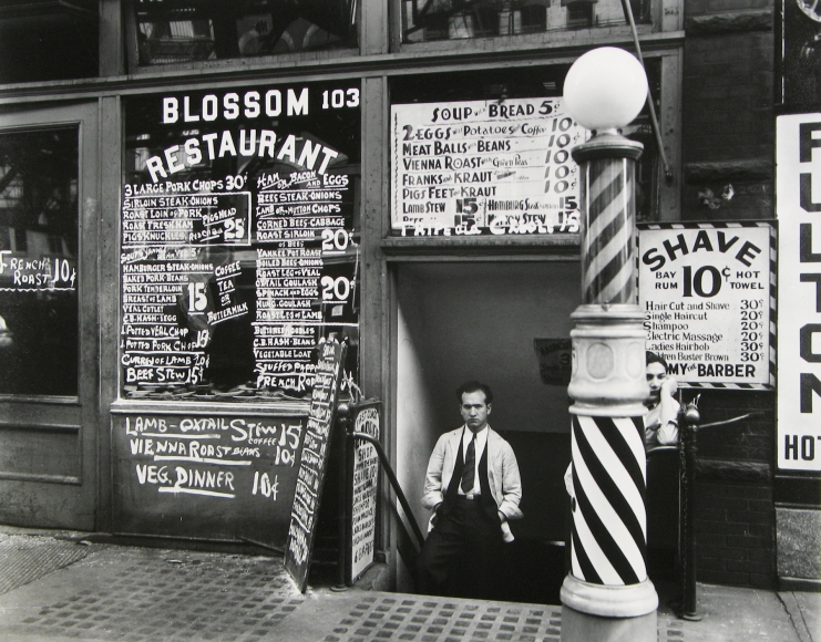 Berenice Abbott - Blossom Restaurant, 103 Bowery between Grand and Hester Streets - Howard Greenberg Gallery