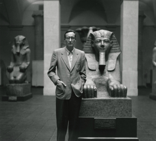 Allen Ginsberg - William S. Burroughs with Sphynx, Metropolitan Museum of Art, New York, 1953 - Howard Greenberg Gallery