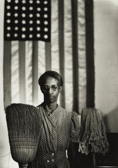 Gordon Parks - American Gothic, Washington, D.C., 1942 - Howard Greenberg Gallery