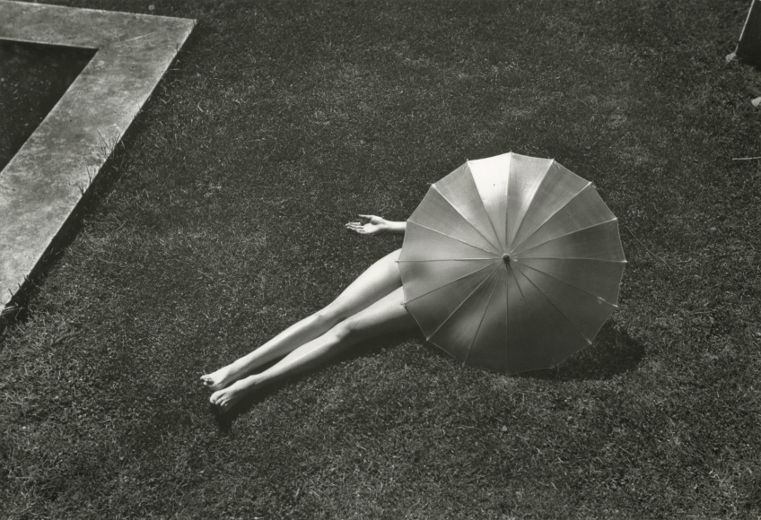 Martin Munkacsi - Nude with Parasol, Harper's Bazaar, July, 1935  - Howard Greenberg Gallery