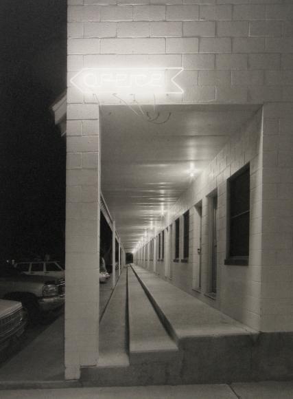 Mark Citret - Long Outdoor Corridor, Shady Court Motel, Winnemucca, 2009- Howard Greenberg Gallery