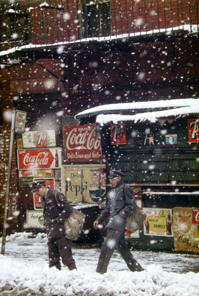 Saul Leiter, Postmen, 1952 Chromogenic print; printed later 14 x 11 inches
