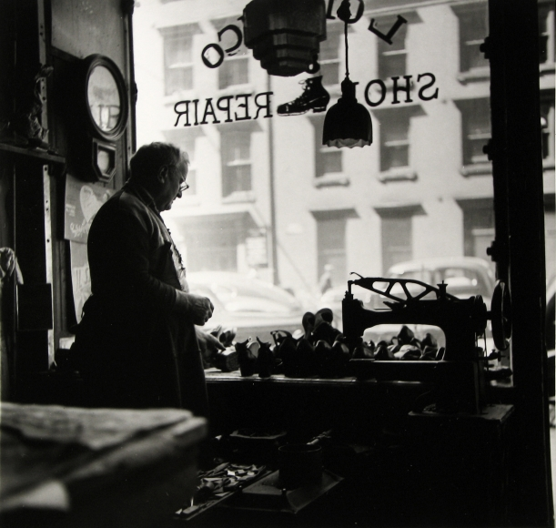 Rebecca Lepkoff - Shoemaker, Madison Street, Lower Manhattan, NYC, 1940s - Howard Greenberg Gallery