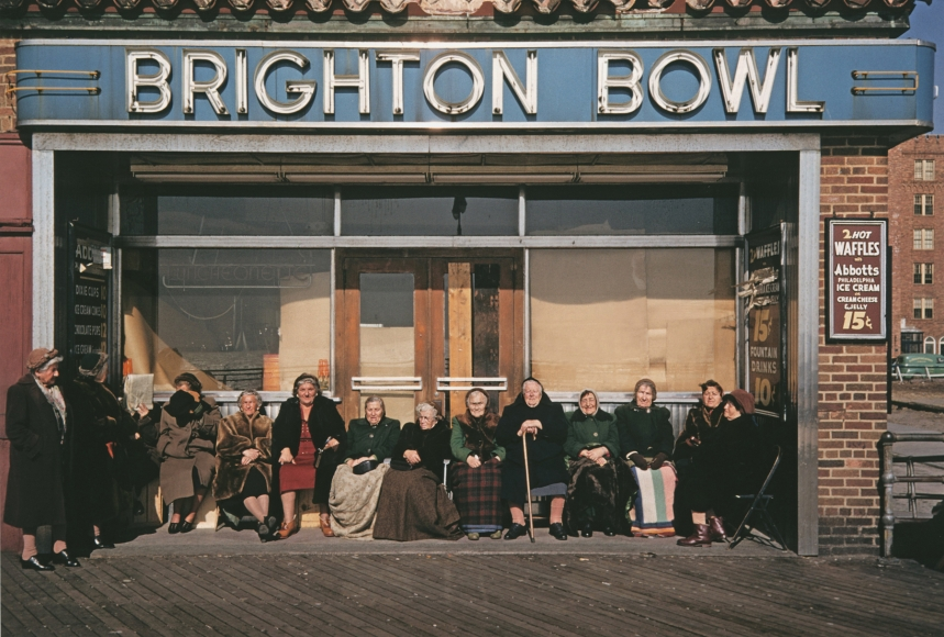 Brighton Bowl, Winter Boardwalk, Coney Island, N.Y., 1953 Archival pigment print; printed later, howard greenberg gallery, 2020