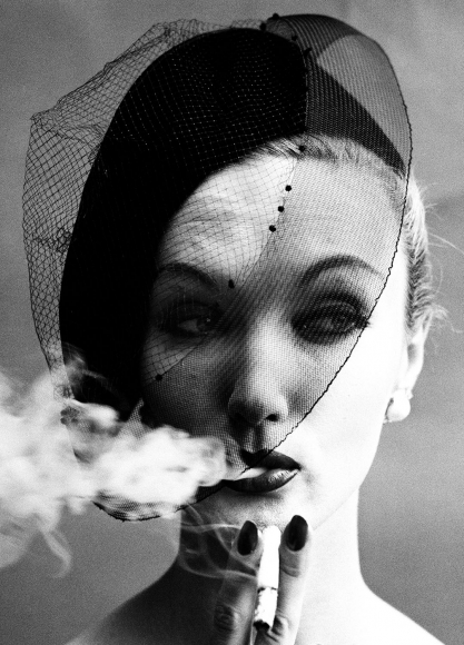 William Klein - Smoke + Veil, Paris (Vogue), 1958 - Howard Greenberg Gallery