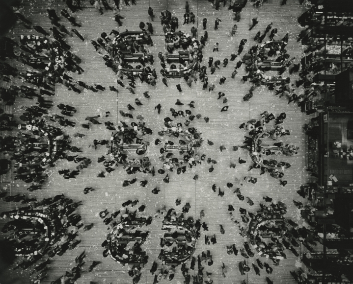 Marvin Newman - Bird's Eye View, New York Stock Exchange, 1957 - Howard Greenberg Gallery