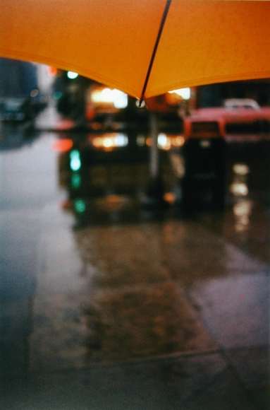 Saul Leiter, Orange Umbrella, c.1950 Chromogenic print; printed later 14 x 11 inches