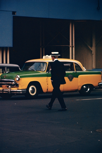 Saul Leiter, Man in Straw Hat, c.1955 Chromogenic print; printed later 14 x 11 inches