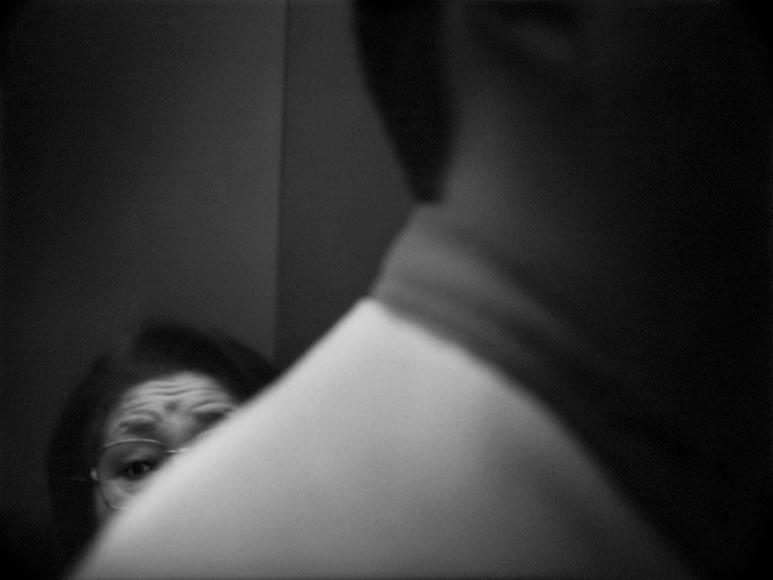James Whitlow Delano, Mangaland, Elevator encounter, Shinjuko, Tokyo, Japan, 1996, Sous Les Etoiles Gallery