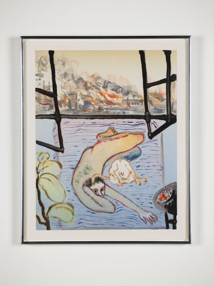 Sanya Kantarovsky,  Boring Flames, 2019,  Monotype,  Printed by 10 Grand Press