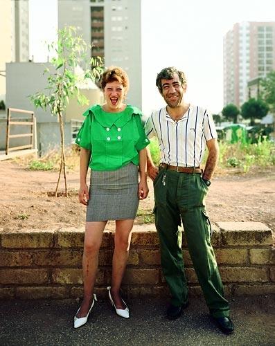 Joel Sternfeld Man and woman on their way to morning coffee, Via Sapori, Cecchignola, Rome, August, 1990
