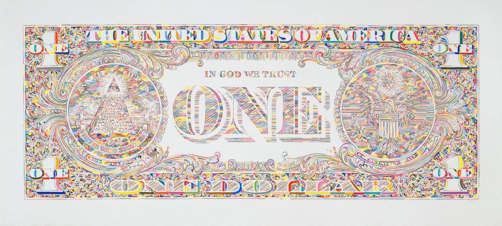 Tom Friedman, Untitled (dollar print, back), 2011,  Silkscreen print, Edition of 100